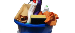 bucket of cleaning items